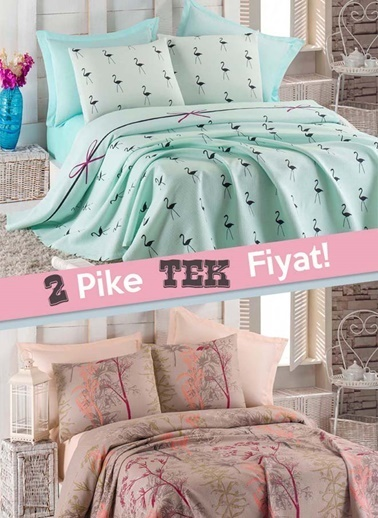 Eponj Home 2li Pike Çift Kişilik FlamingoUrla   Yeşil